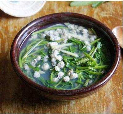 Cách nấu canh ngao rau muống