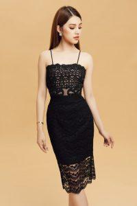 Đầm ren đen kiểu dáng body-con sexy