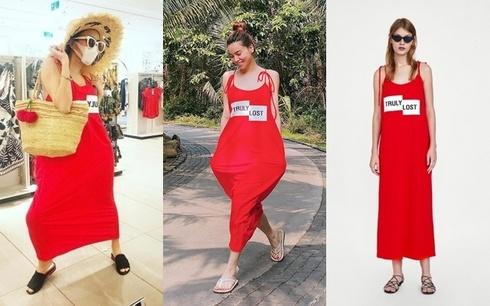 Hàng loạt sao Việt bất ngờ chưng diện thiết kế váy đỏ rộng thùng thình tới khó hiểu này