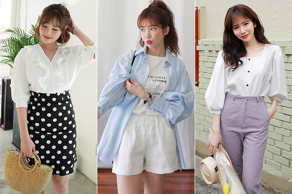 Sơ mi kết hợp cùng các kiểu quần/váy jeans hiện đại, tạo nên sự đối lập thú vị.
