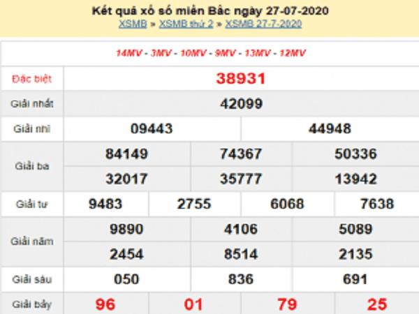 Bảng KQXSMB- Thống kê xổ số miền bắc ngày 28/07 tỷ lệ trúng cao