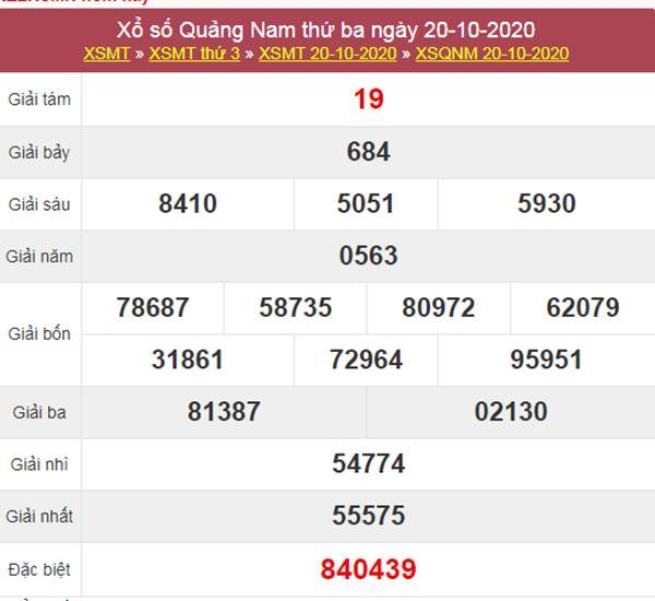 Nhận định KQXS Quảng Nam 27/10/2020 thứ 3 chính xác nhất
