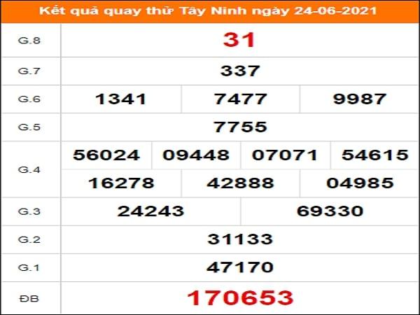 Quay thử xổ số Tây Ninh ngày 24/6/2021